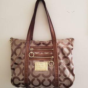 Coach Brown Tan Poppy Tote bag 13326